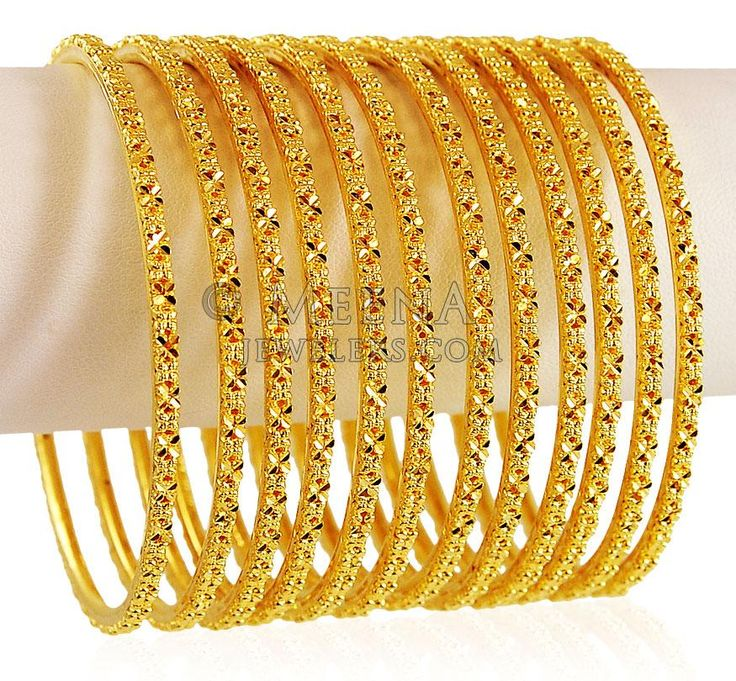 22K Gold Bangle Set (12Pcs) - BaSt20719 -  [Bangles > Set of Bangles]