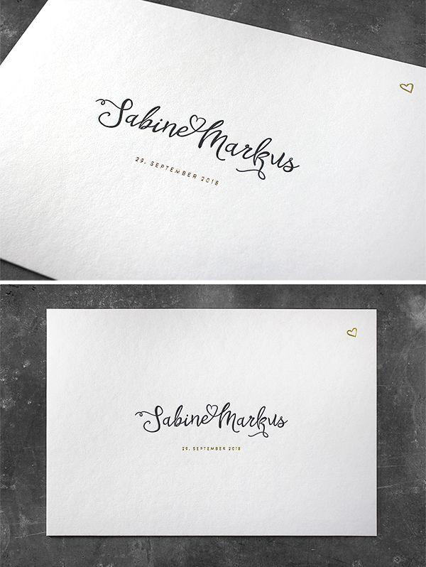 Letterpress Hochzeitseinladung Mit Goldfolienprägung