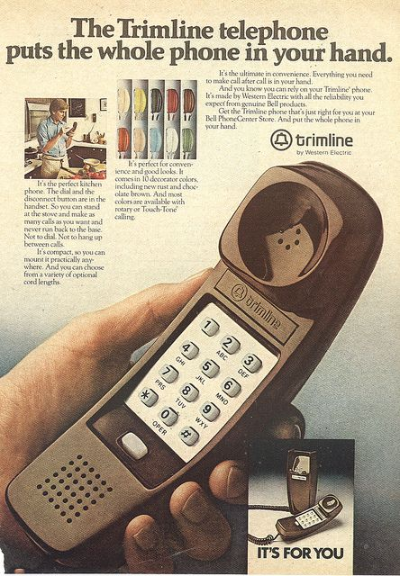 Trimline phone. No more rotary dialing