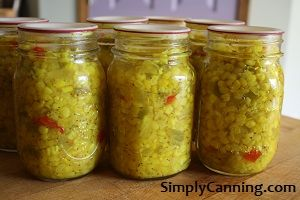 Since this is a pickled item it can be safely processed in a waterbath canner. Remember, usually corn or other vegetables need the pressure canner.