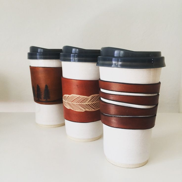 Custom one of a kind Togo cups with leather sleeves