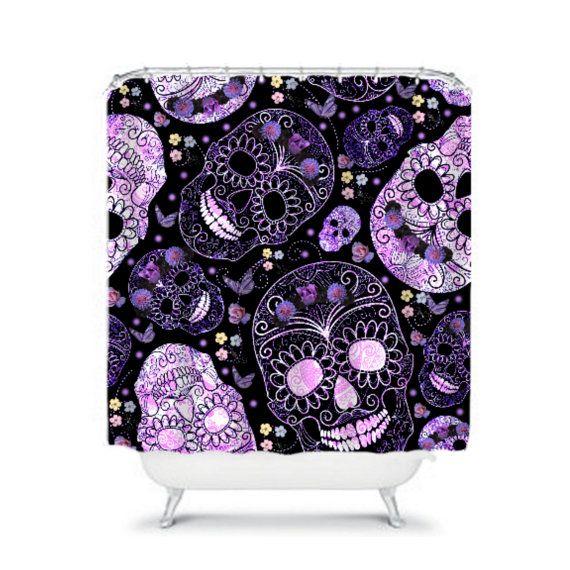 Sugar Skull Shower Curtain Black Purple Roses By