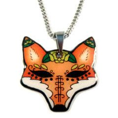 Jubly Umph Fox Day of the Dead Pendant Necklace