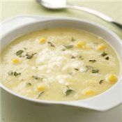 Golden Summer Squash and Corn Soup Recipe - a nutritious soup made with zucchini, corn and veggie or chicken broth with fresh herbs and feta - Cooking.com
