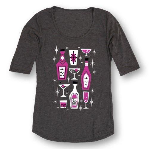 Bottles And Drinks Midcentury Modern - Adult Ladies 3/4 Sleeve TEE, Size: XXL, Black
