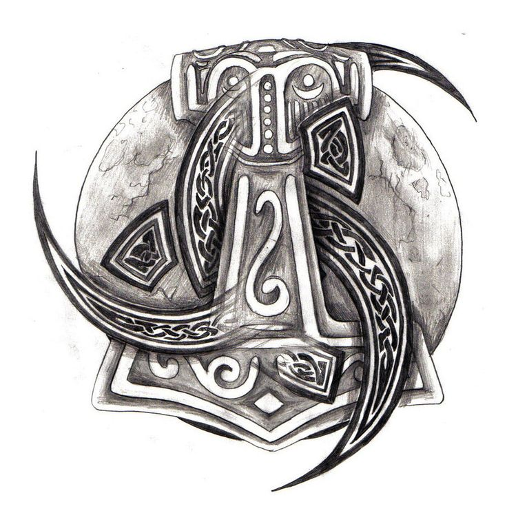 Thors Hammer and Triple horn of Odin by zaphrozz.deviantart.com