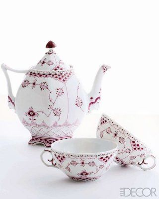 Love these Royal Copenhagen Ruby Red tea cups and tea pot