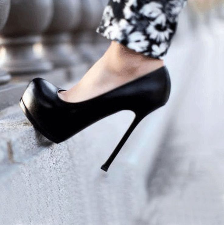 Sexy Black Leather Platform Stiletto Heels