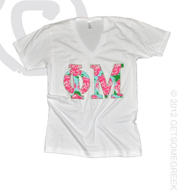 Phi mu floral letters v neck classic cute perfect for Cute greek letter shirts