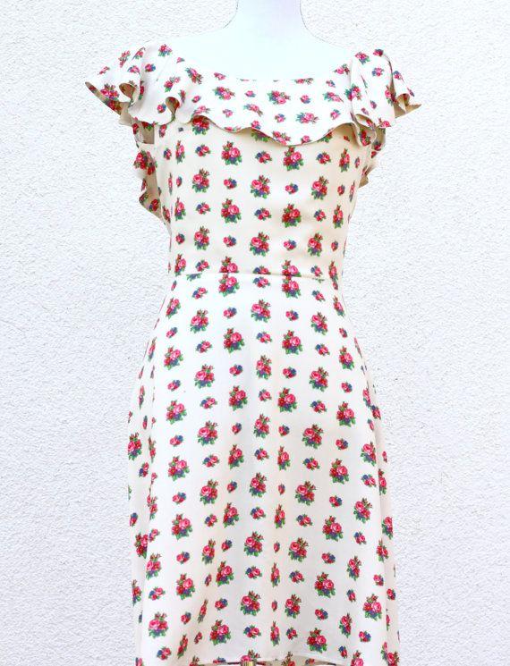 1950s dress Ruffled Collar Dress 1950s Floral by MusaiRomanesc