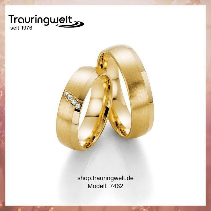 Eheringe Trauringe Aus 585 Gelbgold Und Diamantbesatz Klassisch Und Zeitlos Anillos De Boda Ring Ring