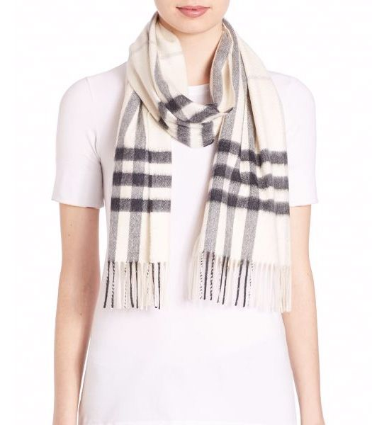 Burberry Giant Check Cashmere Scarf Natural White              $75.00