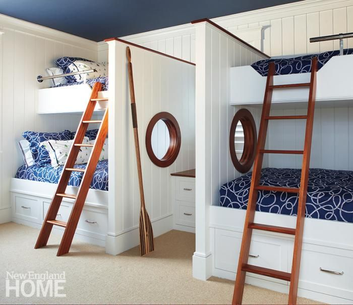 The children's bunk room has open portholes trimmed with mahogany. Imagine all the evening chatter! Interior design by Kathleen Hay, Architecture by Chip Webster, Photography by Michael Partenio