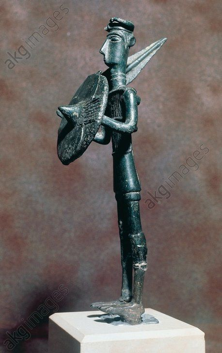 Warrior with sword and bow, bronze statue from Monte Arcosu, Uta, Sardinia, Italy. Nuragic civilisation, 8th–5th century BCE. Cagliari, Museo Archeologico Nazionale