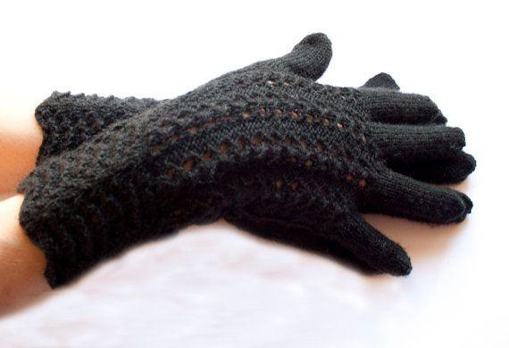 Hand Knitted Gloves Black Elegant Arm Warmers Gloves by DriadaD