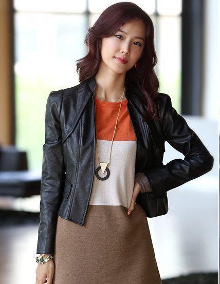 Summer New Fashion 3 Colors Splicing Leather Coat                        _Short Coats_Outerwear_Wholesalekingdom.net