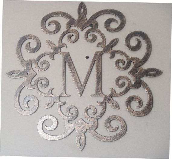 Family initial, Monogram inside a Metal Scroll with ANY letter, Wall decor, Metal Art  Color: Black with an antique look finish  At checkout please