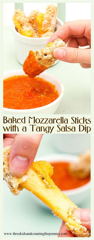 Baked Mozzarella Sticks with a Tangy Salsa Dip.