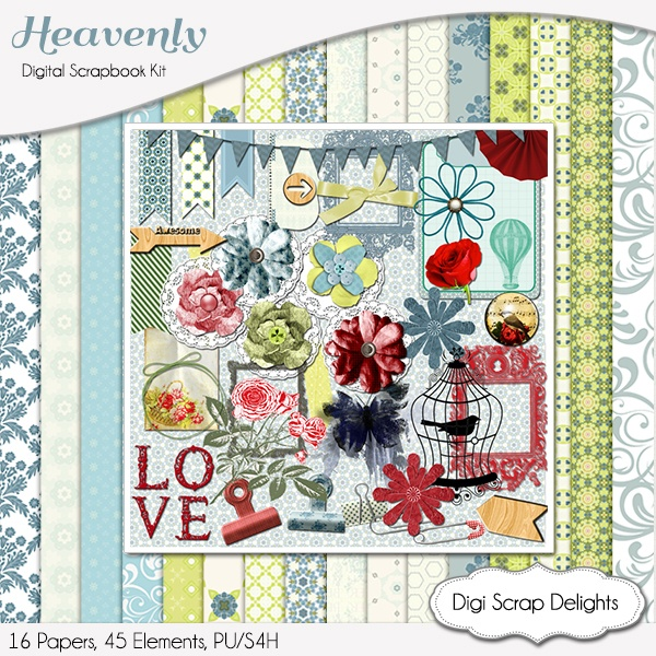 Heavenly is a romantic cottage chic kit in blues and greens with splashes of red.     The 45 elements inculd popular fabric flowers, washi tape doilies, wood veneer, roses, frames, banners, and much more.     16 Papers   45 Elements     6 Fabric Flowers   1 Bird   1 Bird Cage   2 Wood Veneer Arrows   2 Bows   4 Washi Tapes   3 Frames   1 Butterfly   1 Doily   2 Roses   5 Fasteners   1 Brad   3 Banners   and more