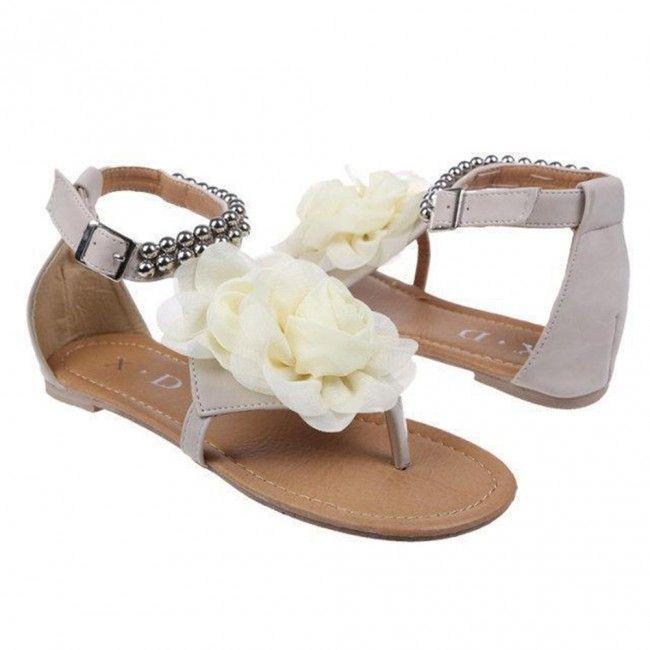 Blanc Chaussures Plates A Fleur