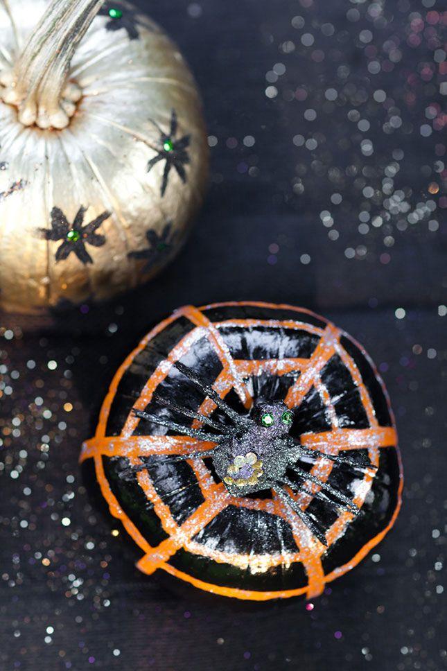 The most eye-catching glittery Halloween pumpkins.