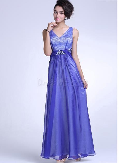 Dresswe.com SUPPLIES Luxurious Deep V-Neck A-Line Floor Length Evening Dress Evening Dresses 2014