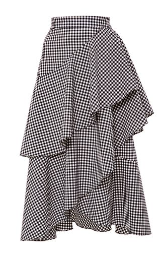 Dom Gingham Asymmetric Ruffle Skirt by MARISSA WEBB for Preorder on Moda…