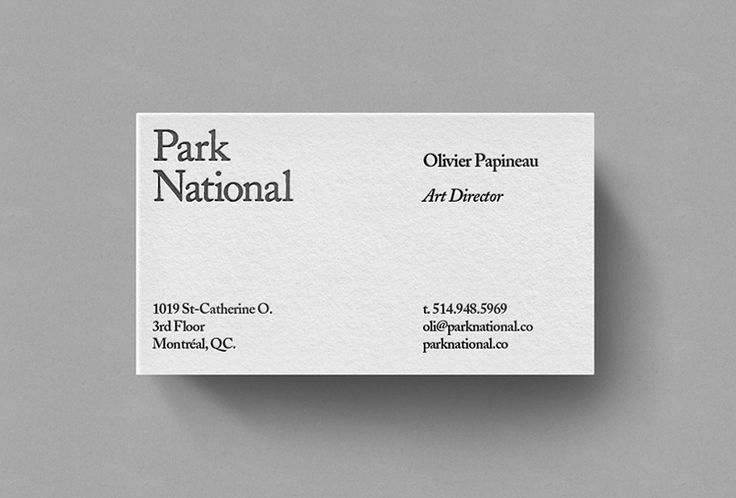 Picture of business card designed by Michael Mason for the project Park National. Published on the Visual Journal in date 1 December 2015