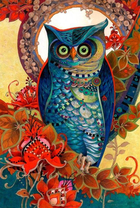 illustration, animal, bird, owl, floral, pattern, David Galchutt