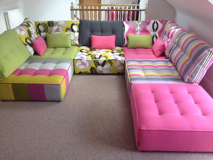 Designers Guild fabrics on these Tapas modules for a special upstairs family room with vistas across the countryside.