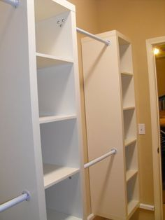 """Using expedit shelving from Ikea to create """"custom closet"""".  This closet used 7 of the 5x1 units and rods in between.  Each cube can be left open, divided into four smaller cubbies, two drawers or have baskets to pull out."""