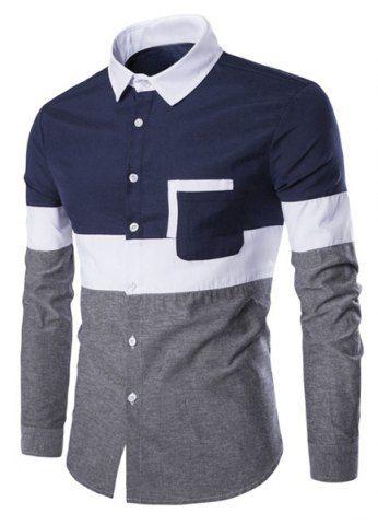 Turn-Down Collar Color Block Spliced Design Print Long Sleeve Shirt For Men