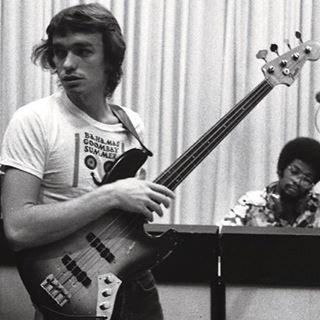 Jaco Pastorius recording his debut album in 1975 for Columbia Records.
