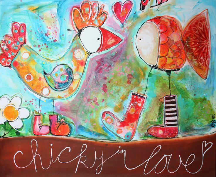 Chicky in love 120x100 available  FB: e-ster-art