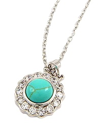 """18"""" + EXT Rhodiumized Turquoise Clear Cubic Zirconia Round Pendant Necklace Retail - $35.20 You Pay - $17.60 w/ free shipping in the US."""