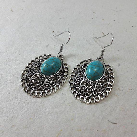 Bohemia Vintage Turquoise Silver Plated EarringBoho by LaLannaThai