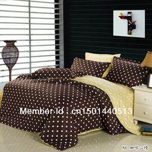 Синий кофе марка logo печать 100% хлопок 4 шт queen размер кровать лён кровать лист комплект постельные принадлежности комплект комплект пододеяльников для пуховых одеял(China (Mainland))