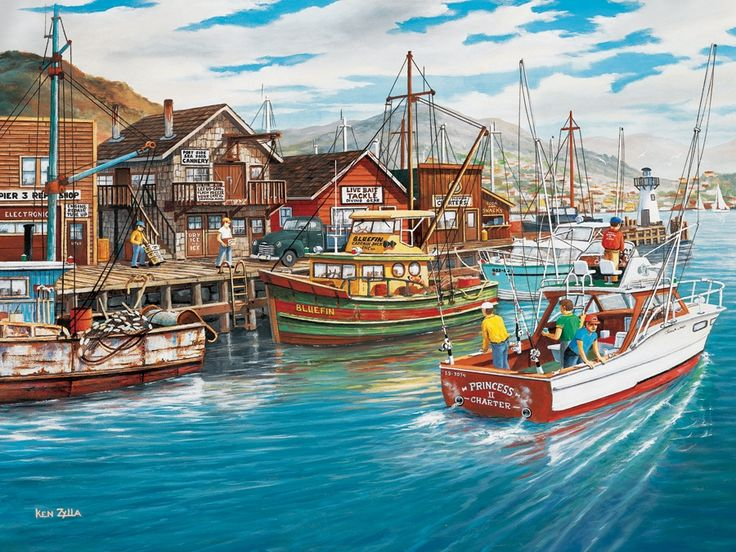 Fishing Harbor 500pc jigsaw puzzle|Item 52070 Cobble Hill Puzzle Co
