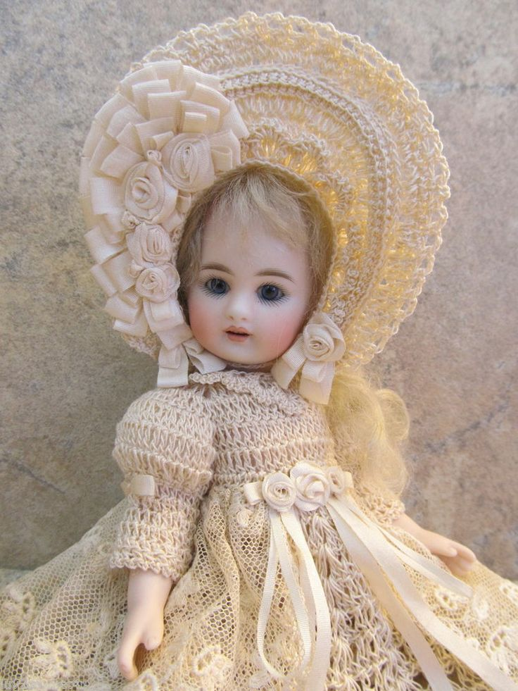 """VICTORIAN STYLE CROCHETED DRESS SET FOR 7""""- 7 1/2"""" ALL BISQUE DOLL* by Tina"""