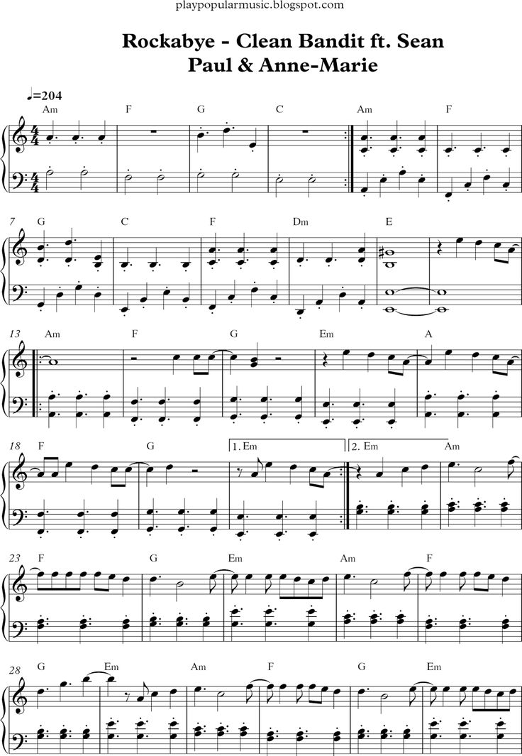 free piano sheet music rockabye clean bandit ft sean paul anne
