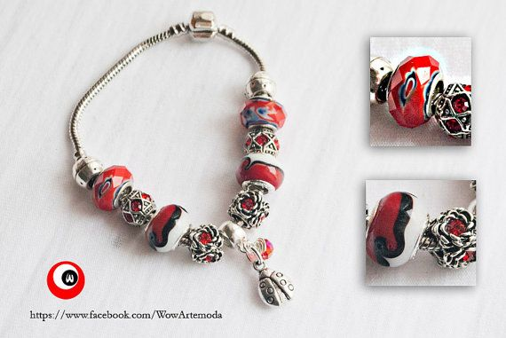 Green European Style Bracelet in red Tone, ladybug pendant, amazing red stone charms, and red strass beads charms. by WoWArteModa, €9.90