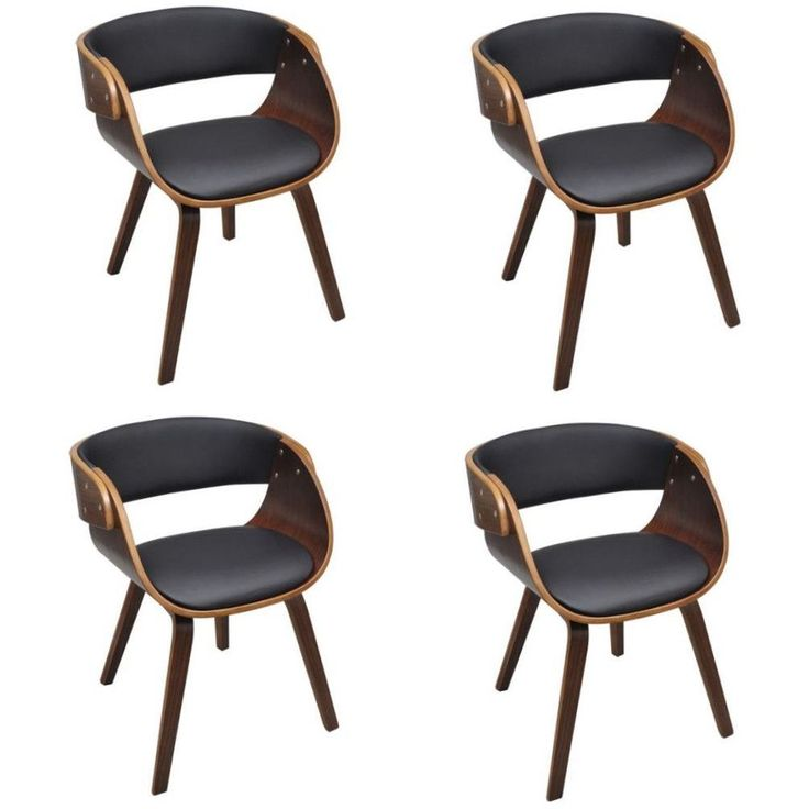 Set Of 4 Dining Chairs Faux Leather Contemporary Design Living Room Furniture