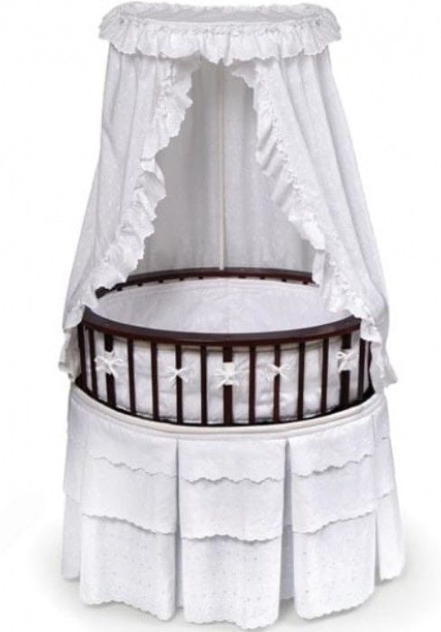 Cherry Finish Elite Oval Bassinet With White Eyelet Bedding Fitted Mattress #bassinet