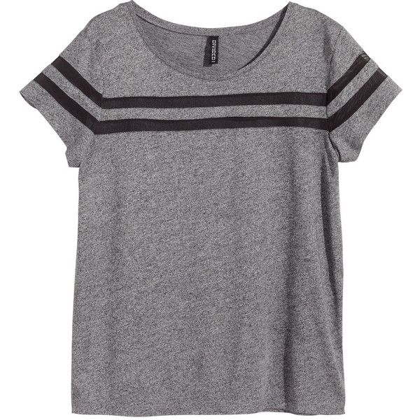 H&M Top with mesh stripes ($7.66) ❤ liked on Polyvore featuring tops, t-shirts, shirts, tees, dark grey, h&m, dark grey t shirt, mesh tee, striped tee y stripe t shirt