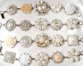 OOAK Vintage avorio perla strass nuziale di AmoreTreasure su Etsy