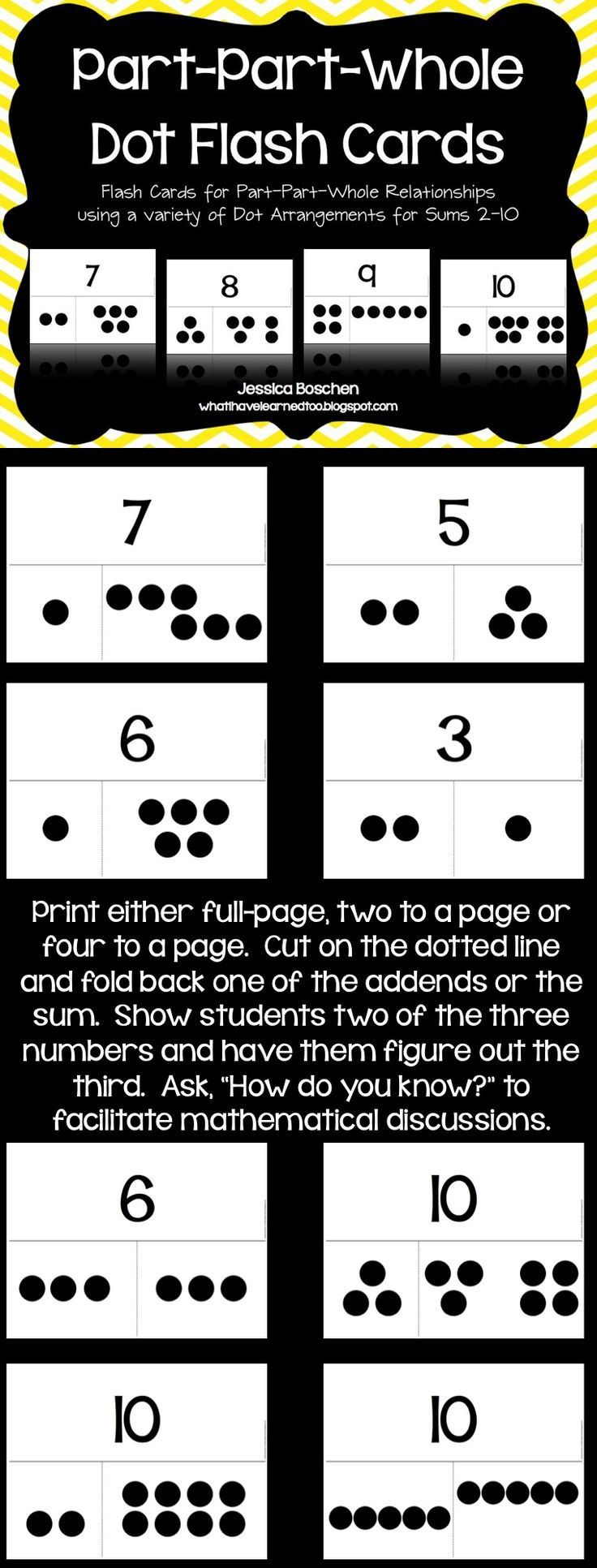 Part-Part-Whole Dot Flash Cards...this links to a file you have to pay for on TPT, and I hate when people do that, but I'm repinning it because I like the idea and I can use the pictures to make it.