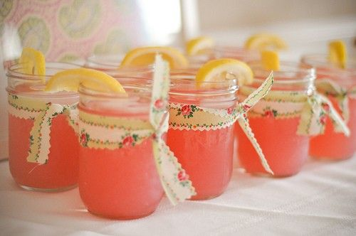 Lemonade in Mason jars. Cute idea for a bridal or baby shower.