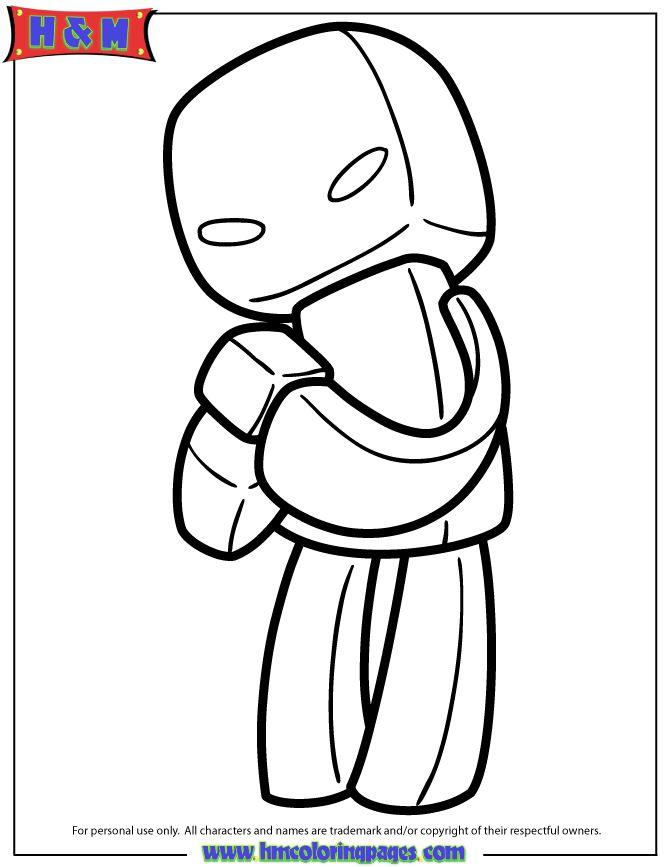 Cute Cartoon Enderman With Block Coloring Page Coloring Pages Minecraft Coloring Pages Cute Cartoon