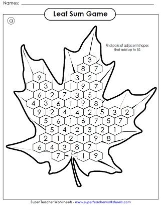 fall math activity printable home learning worksheets autumn fall crafts. Black Bedroom Furniture Sets. Home Design Ideas