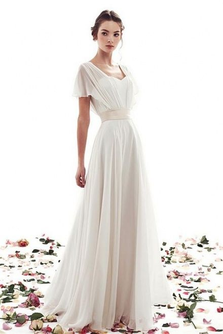 A-line Lace-up Simple Short Sleeves Vintage Wedding Dress
